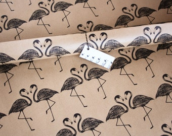 Hand printed flamingo wrapping paper, brown Kraft paper gift wrap, printed with black flamingo design, 50 x 75cm wrap
