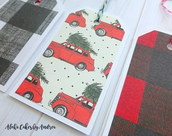 Christmas Tags, Little Red Car with Tree, Red Black Buffalo Plaid Tag, Black White Plaid Tag, Personalized Vintage Tags, Woods,