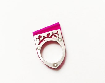 Pink Ring, Silver Ring, Floral Ring, Industrial Jewelry, Modern Ring