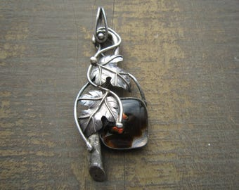 Studio Artist Grape Sterling and  Glass Pendant