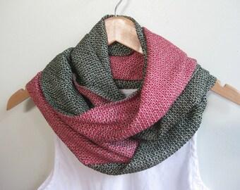 Dark forest green and bright fuschia pink silk infinity scarf, recycled Japanese kimono fabrics, shibori