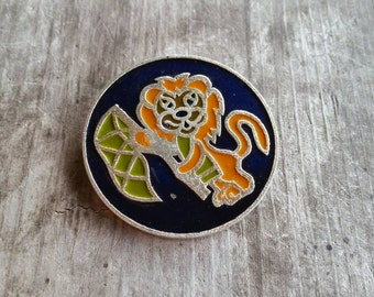 Vintage Leo Lion Zodiac Blue Green and Orange Enamel Pin Made in the USSR