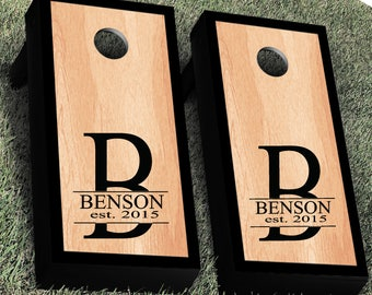Monogram Wedding Cornhole Decal |Single Decal Personalized CornHole Sticker | His and Hers Name Cornhole Decal | Wedding Decal
