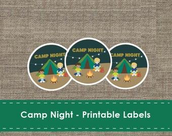 Camp Night Labels - Printable - DIY - The Studio Barn