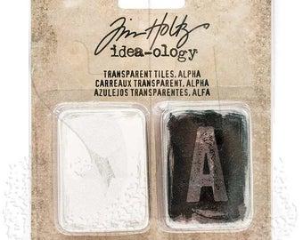 Tim Holtz Idea-ology TRANSPARENT TILES ALPHA 96 pc acetate embellishments cc1x
