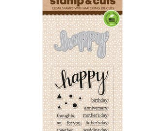 "Hero Arts Stamp & Cut HAPPY birthday anniversary mother's day clear 3""x4"" Stamp with metal Die set - DC150 1.cc02"