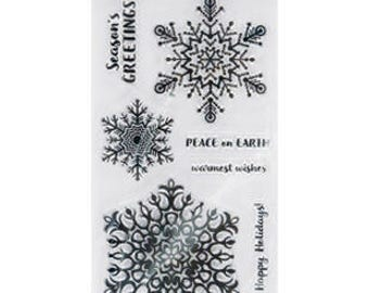 "Fiskars 4"" x 8"" Clear Stamp Set - MERRY and BRIGHT snowflake stamps cc02"