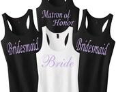 Bridesmaid Shirts Set of 6.Bridesmaid Shirts.Bride Tank Top.Bridal Party Tanks.Maid of Honor.Bridesmaid Tank Bridesmaid Tanks Gift Party