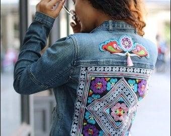 Vintage Denim Jacket with Hmong Patchwork Size S-M (011AP)