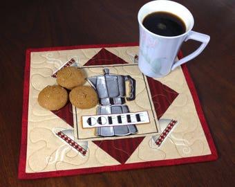 Coffee Lovers Mugrug, Quilted Snack Mat, Coffee Theme Mug Rug, Mini Placemat, Luncheon Mat, Handmade Beverage Mat, Mini Quilt, Mugrug Quilt