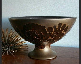 Sascha Brastoff footed metalic glaze bowl.
