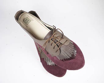 SALE !! READY to SHIP - 15% off -- Size 40 -- The Fringed Oxfords in Oxblood - Handmade Flat Shoes