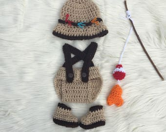 Baby Fisherman Outfit Hat Fish And Diaper Cover Set 0 3