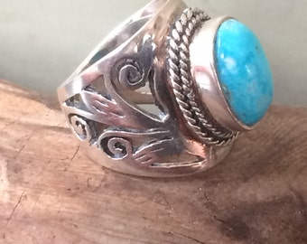 Sterling and Larimar vintage tribal ring  size 6