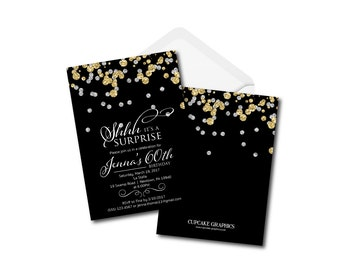 Milestone Birthday Invitation - Black Gold and Silver - Digital File - Instant Download