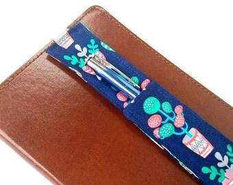Retro House Plants Pen Holder for Journal - Navy Blue Pink Plant Pencil Holder Journaling