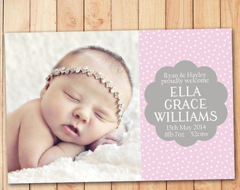 Dotty Birth Announcement Card - Pink