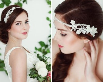Vintage Headpiece Beaded Hairband/ Headband Bohemian Lace Hairpiece, Wedding  Headpiece Gatsby Flapper  Bohemian Look Halo Tiara