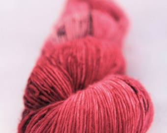 Hand-dyed yarn - sock yarn - superwash - merino - dyed-to-order - speckles - CERISE