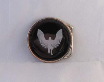 Circular Belt Buckle with White Eagle fused into glass