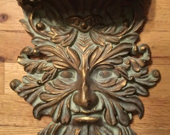 Vintage Green Man Carved Shelf. Gold Highlights. Heavy.  Hollywood Regency, Gardening ~ Aged quality!