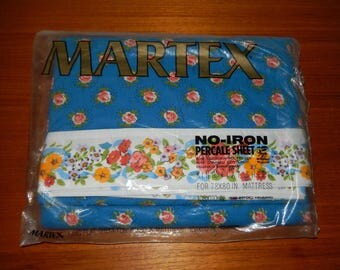 Brand New Vintage Blue Floral Patterned Martex Flat Sheet for a King Bed