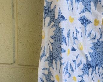 Casual blue cotton midi shift dress