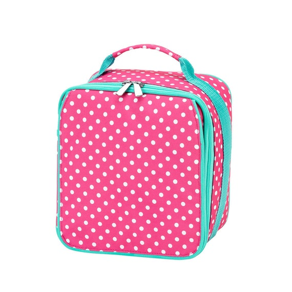 Pink dottie  Lunch box lunch bag monogrammed lunch bag personalized lunch bag