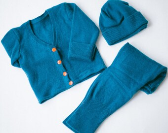 Handmade Teal Cashmere Cardigan Sweater Set with Matching Pants and Hat, 3 piece set, Sz 6M