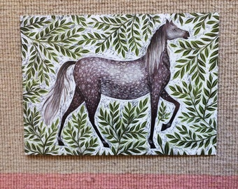 Grey Dapple Horse Greetings Card