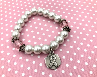 Free Shipping,Breast Cancer Awareness Bracelet,pink & white awareness bracelet,Breast Cancer awareness jewelry,Breast Cancer charm bracelet