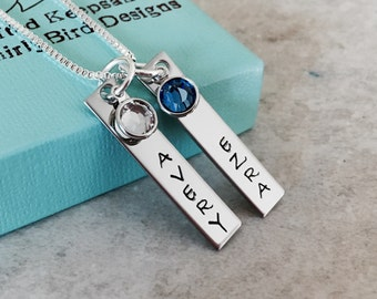 Personalized necklace with names and birthstones hand stamped custom jewelry kids names mothers necklace teacher necklace