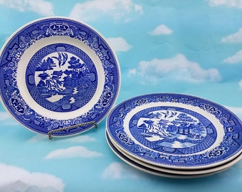 Blue Willow  Dinner / Luncheon  Plates, set of four, Vintage Willow Ware, Replacement dishes