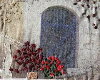 Streets of Greece , fiber art, wall hanging, hand embroidery,  mixed media Ooak