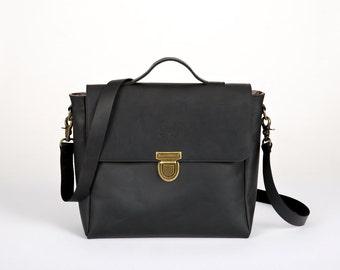 Leather messenger bag, Black leather bag, crossbody bag messenger, Leather messenger men, Satchel bag, Leather rucksack [p1]