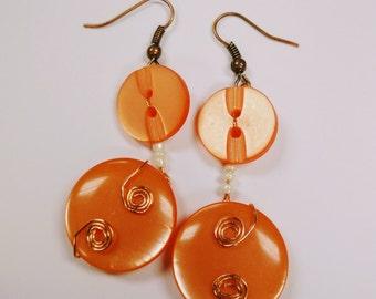 Orange Button Drop Earrings