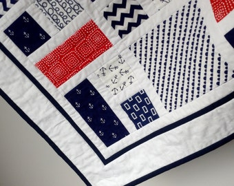 RED WHITE NAVY handmade patchwork baby quilt nautical theme Made to Order