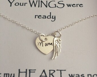 Keepsake Remembrance Sterling Silver Heart Mum Dad Nan & Angel Wing Necklace Your WINGS were ready but my HEART was not