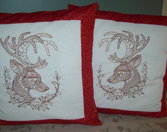 Christmas Deer Embroidered Pillow Cover, Set of 2