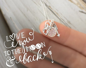 Moon & Back Necklace - druzy stone necklace - heart charm - arrow charm - love you to the moon and back - mommy daughter - friend jewelry