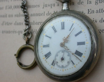 French antique 19th century large  solid bronze silver pocket watch chrono ornate watch face man pocket watch large watch chain France