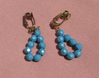Vintage Blue Beaded Dangling Clip On Earrings Missing Bead On Posts