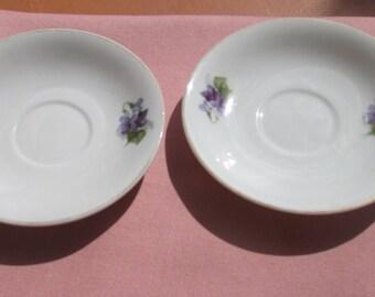 Vintage Violet  China  Saucer Set Of Two Marked Japan