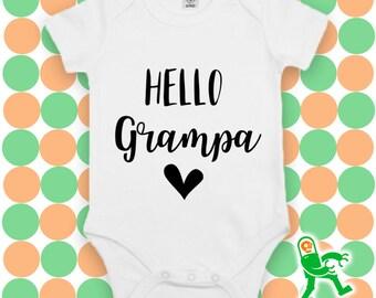 Hello Grampa, Free Customisation, Custom Baby Grow, personalised baby gift, gift for grandparent, new baby gift