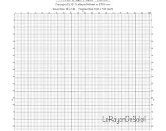 Aida 14 cross stitch graph paper, grid template.