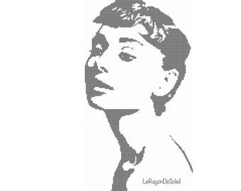 Cross stitch pattern Audrey Hepburn silhouette -PDF Instant download.