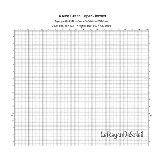 Aida 14 Cross Stitch Graph Paper Grid Template.