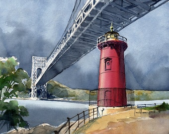 Little Red Lighthouse under George Washington Bridge, NY. Matted art prints, 5x7 notecards of original watercolor by James Mann.
