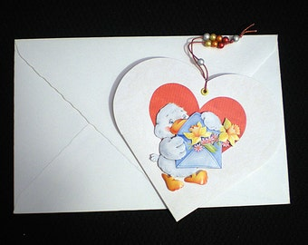 Heart card valentine  with duck