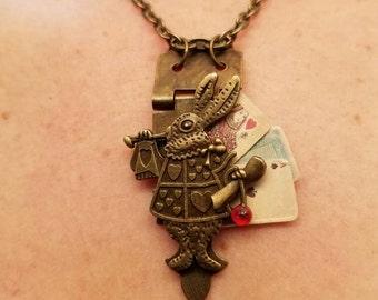 Alice in wonderland steampunk multi strand white rabbit necklace